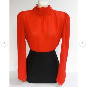 Chic Vintage Red Secretary Blouse